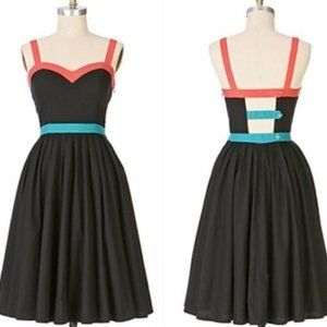 Anthro Maple Maricopa Black Multi Color Dress 2/4